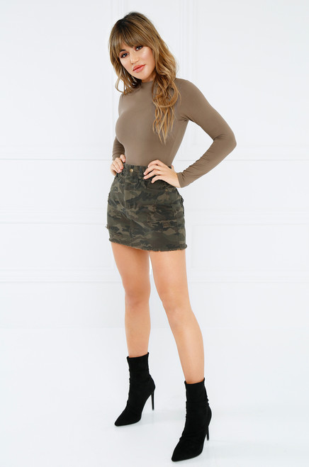 Finders Keepers Jean Skirt - Camouflage Denim