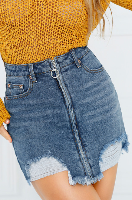 Rolling Stone Jean Skirt - Medium Wash Denim
