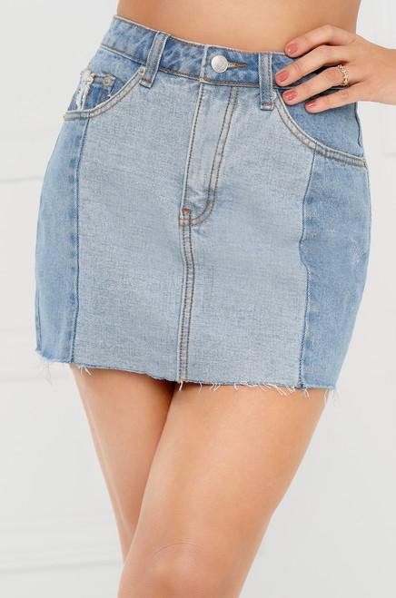 Hit The Road Jean Skirt - Light Wash Denim