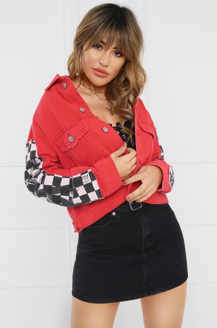 Hello Moto Jean Jacket - Red Denim