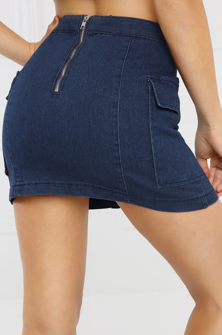 Current Obsession Jean Skirt - Dark Wash Denim