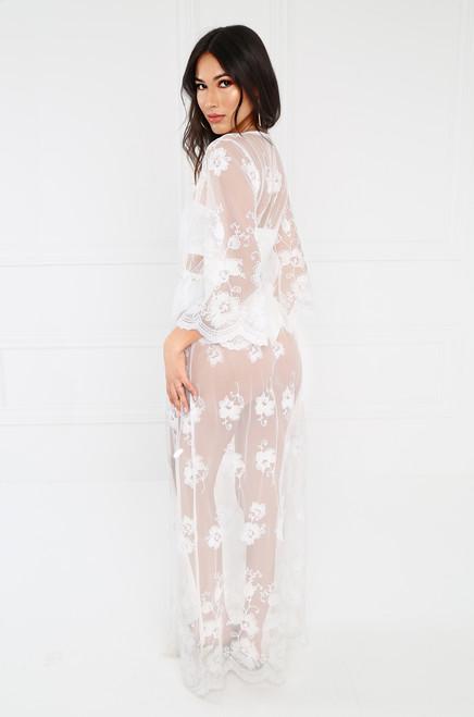 Sheer Seduction Kimono - White