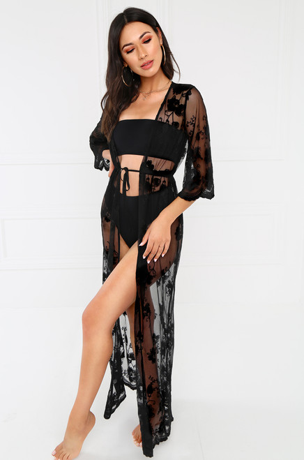 Sheer Seduction Kimono - Black