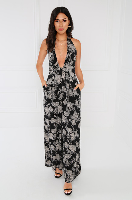 Keep Dreaming Jumpsuit - Black Floral