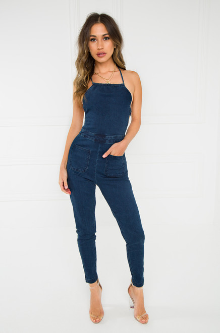 Thought-Provoking Jumpsuit - Dark Wash Denim