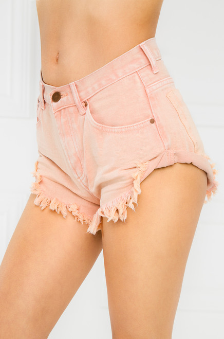 So Juicy Jean Shorts - Peach Denim
