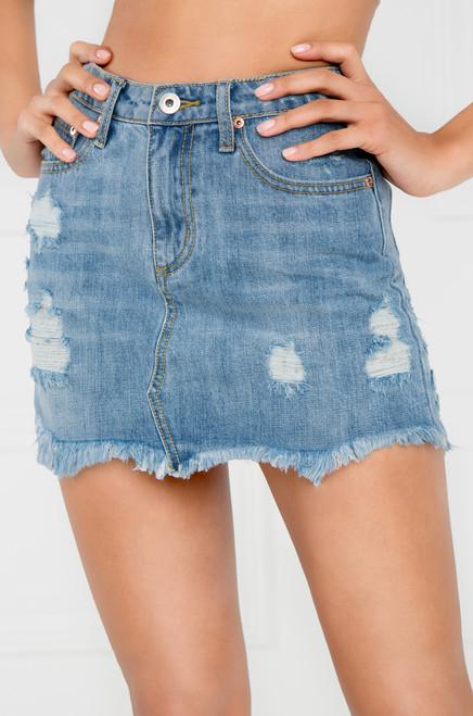 Faking It Jean Skirt - Light Wash Denim