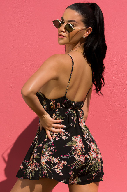 Wild About You Romper - Black Floral