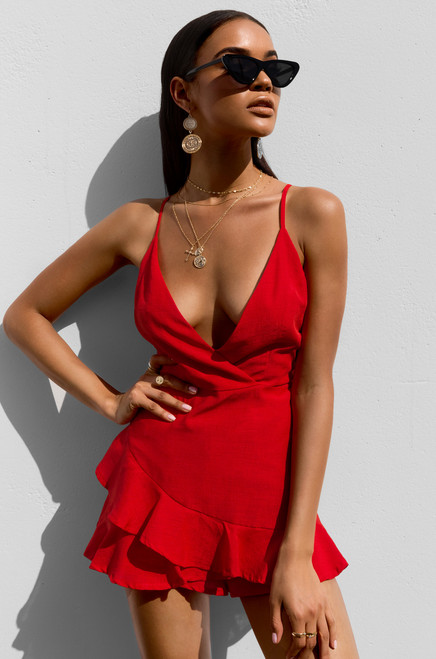 Seize The Sun Romper - Red
