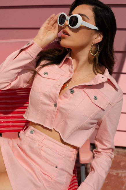 Hot to Handle Jacket  - Pink Wash Denim