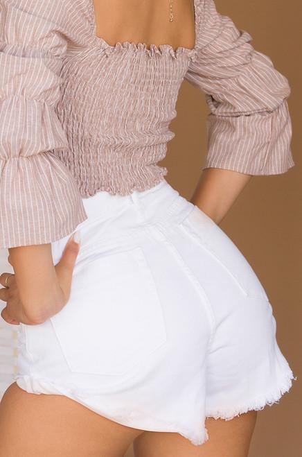 Praise The Sun Shorts - White Wash Denim