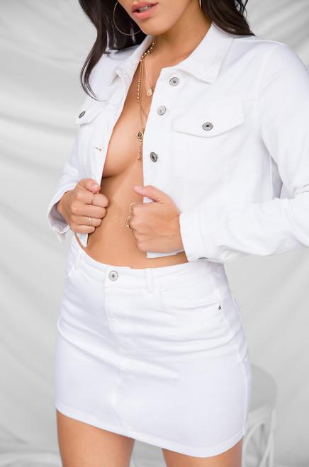 Hot to Handle Jacket  - White Wash Denim