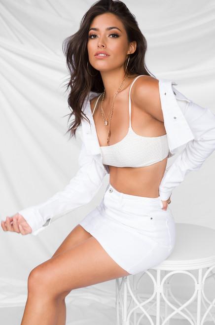 Hot to Handle Skirt - White Wash Denim