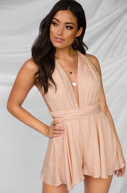 Keep Your Cool Romper - Nude