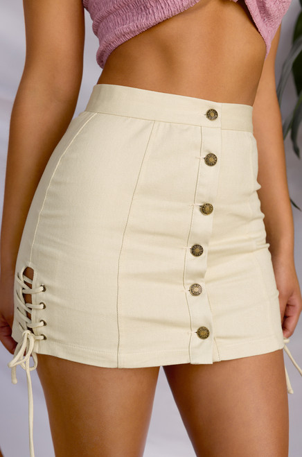 Don't Get It Twisted Skirt - Beige