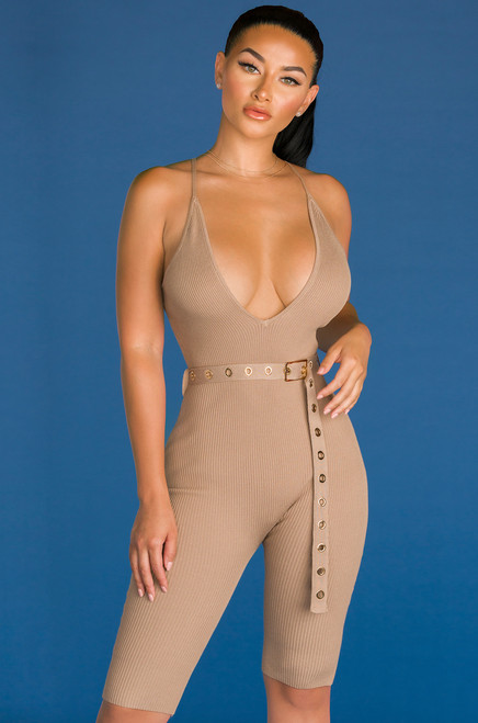 Get Hype Romper - Taupe