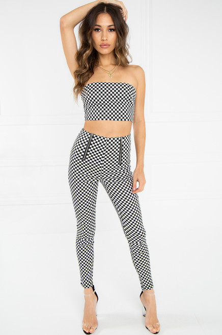 Tap Out Bandeau Top - Black Checkered
