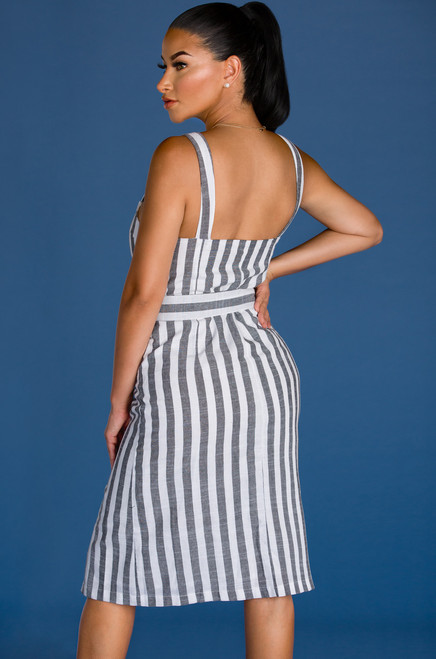 Doin' Life Right Dress - Grey Stripe
