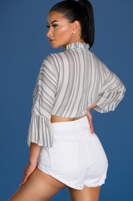 In My Heart Top - Grey Stripe