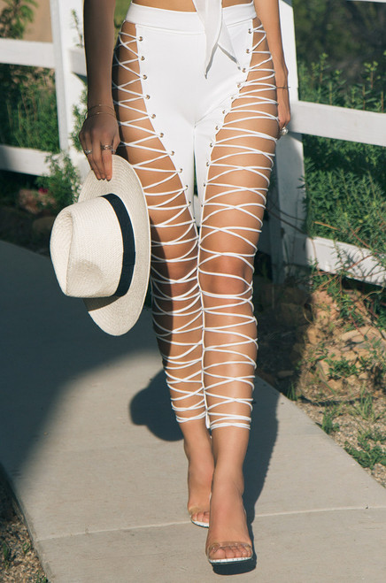 Unknown Pleasures Pant - White