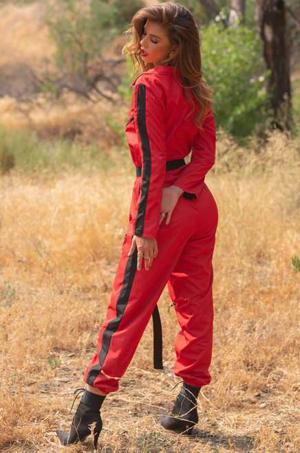 Keep The Change Jumpsuit - Red