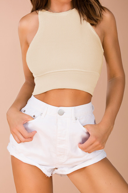 Hold on Tight Crop Top - Ivory