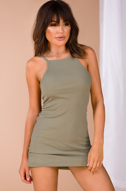 Casual Relationship Dress - Olive