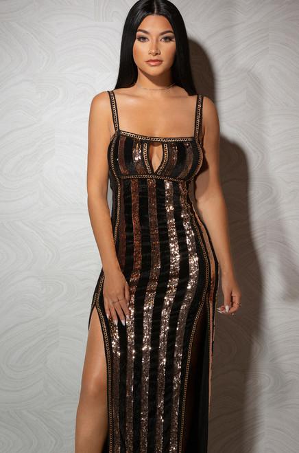 Strike it Rich Dress - Gold