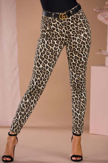 Wild Will Denim Pant- Leopard