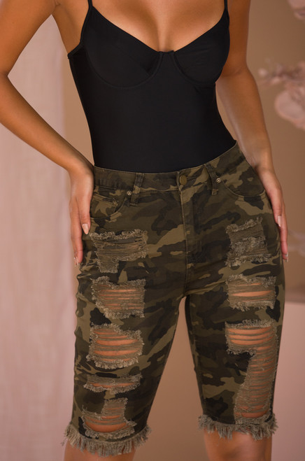 Full Throttle Denim Shorts - Camo