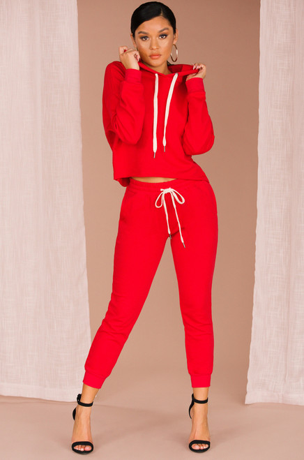 Stay On Track Co-ord Set - Red