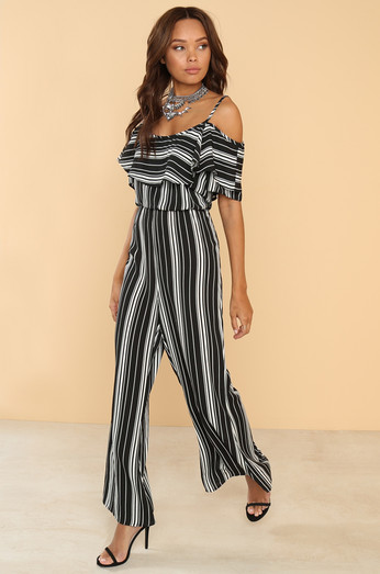 Stripe Club Jumpsuit   Black by Lola Shoetique