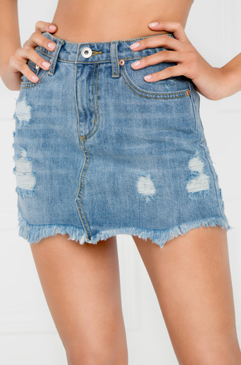 Faking It Jean Skirt   Light Wash Denim by Lola Shoetique