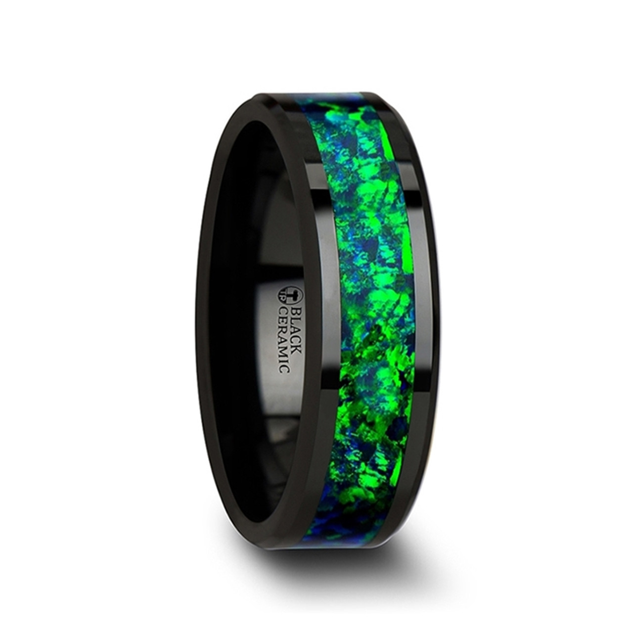 Tread Black Ceramic Wedding Band With Emerald Green Shire Blue Color Opal Inlay At Rotunda