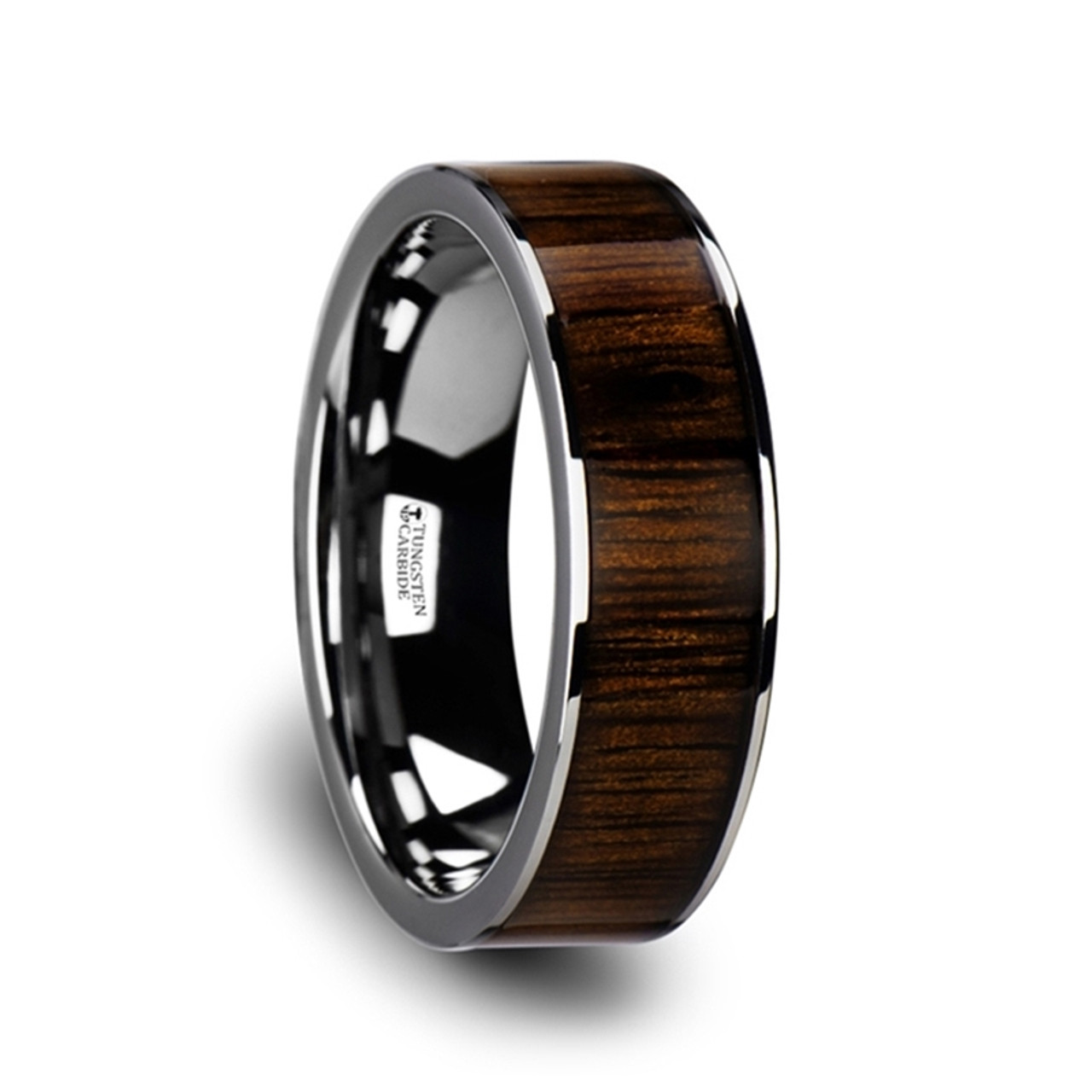 Heliotrope Flat Tungsten Wedding Band With Black Walnut Wood Inlay At Rotunda Jewelers