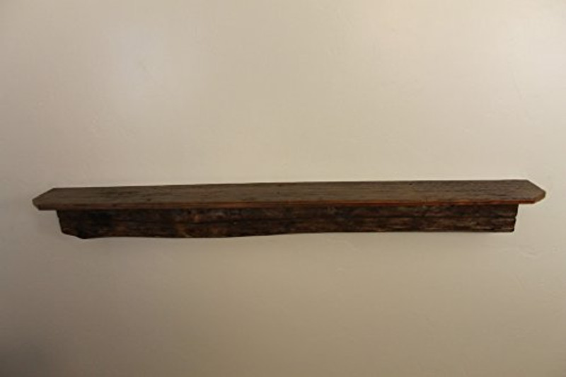 """1738 66"""" W x 7.75"""" D x 6"""" H, Reclaimed Floating Wood Mantel, Shelf, Pine, Live Edge, Smooth Top, Old Growth"""