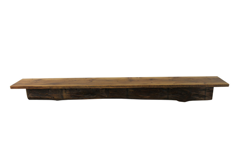 "2120 - Joel's Antiques, 66"" W x 8"" D x 7"" H, Reclaimed Floating Wood Mantel, Shelf, Pine, Naturally Weathered, Chunky, 1800's, Two Piece"