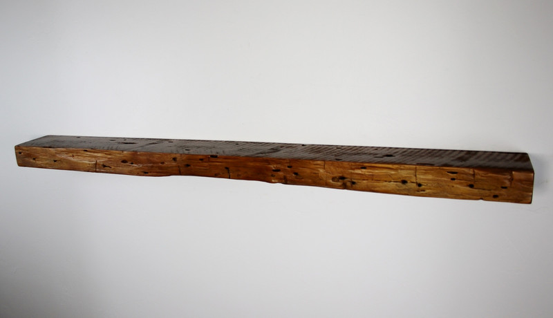 "1951 - 66"" x 7"" x 3.25"" Reclaimed floating mantel, shelf, Cedar, wormwood, Industrial, with hardware"