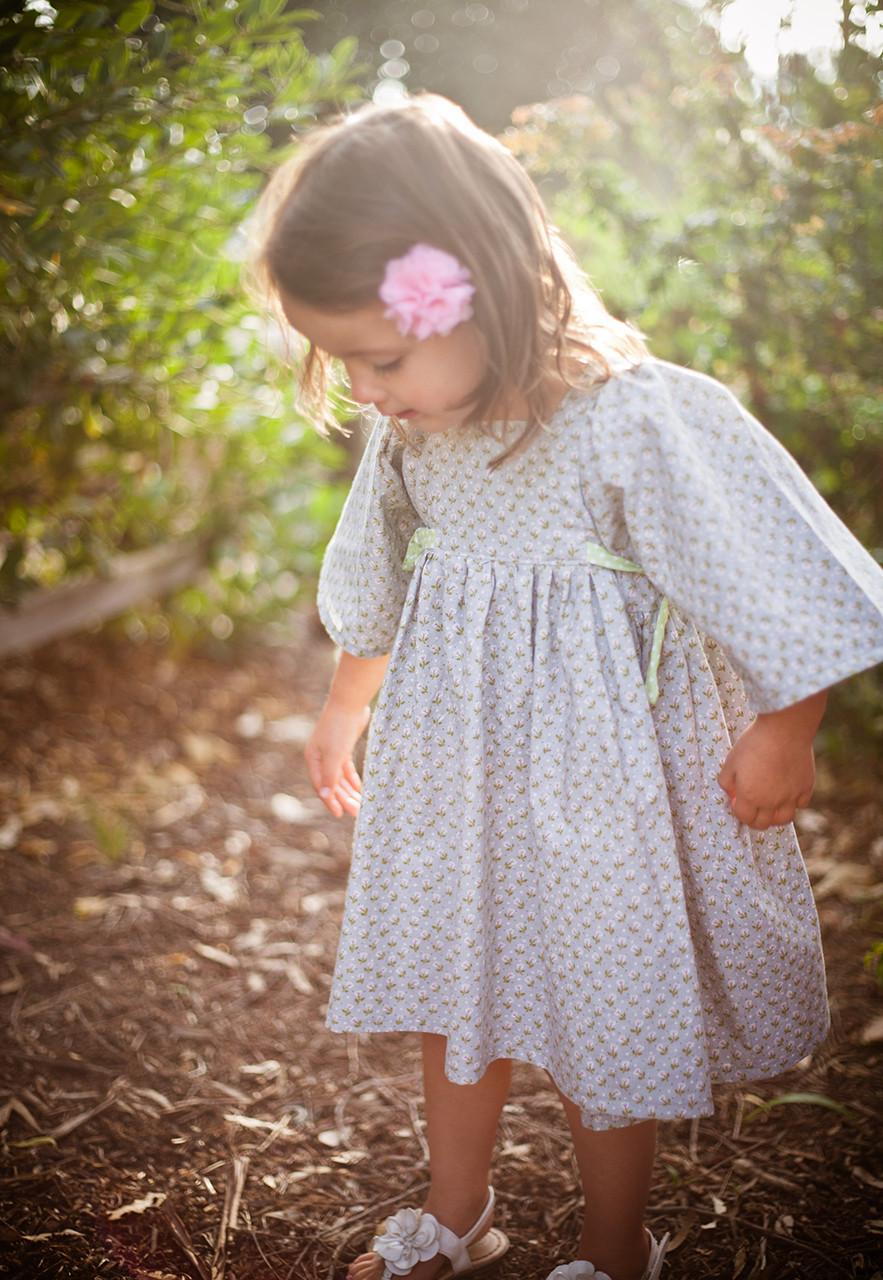 Pdf Pattern Tutorial Hand Embroidery Stitch My Garden 002: Girl's Vintage Dress