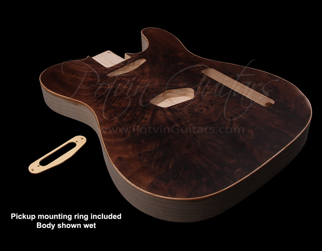 T-Style body #155 Figured walnut top inset on chambered swampash