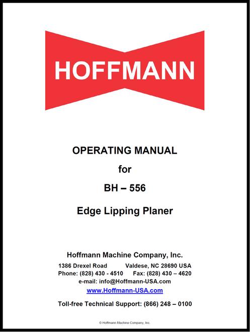 Hoffmann BH-556 Lipping Planer Manual