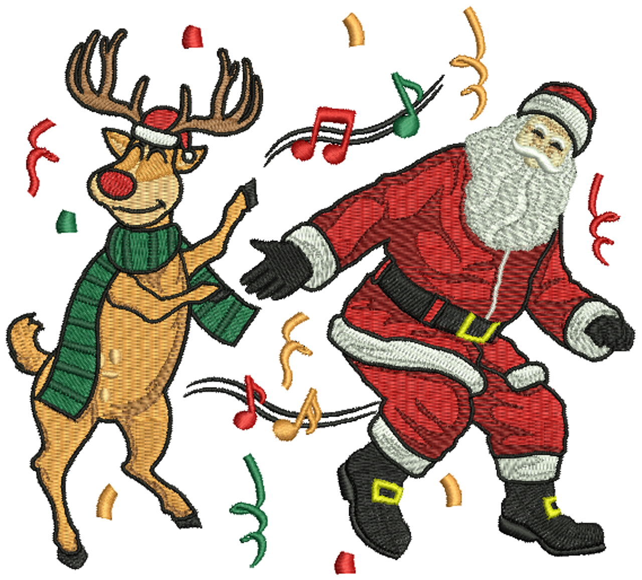 Dancing Santa And Reindeer   Humor Christmas #03 Machine Embroidery Design