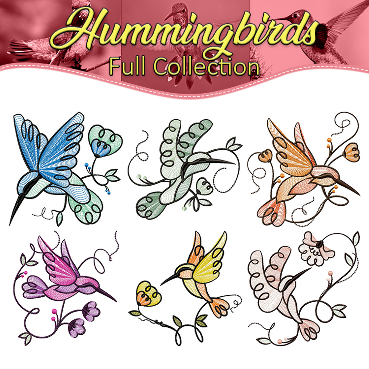 Machine Embroidery Designs Hummingbirds Collection Of 6
