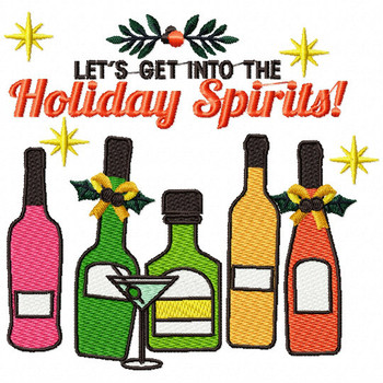 Let's Get into the Holiday Spirits - Christmas Humor Booze #04 Machine Embroidery Design