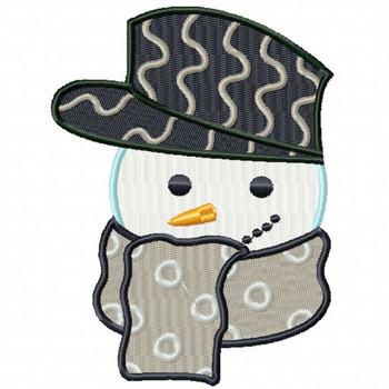 Hippie Snowman Head - Snowman Version One #07 Machine Embroidery Design