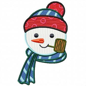 Pipe Snowman Head - Snowman Version One #06 Machine Embroidery Design