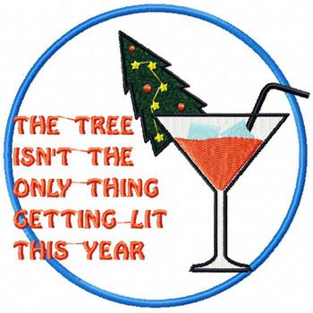 Christmas Tree Getting Lit - Christmas Humor Booze #05 Machine Embroidery Design