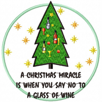 NO to a Glass of Wine - Christmas Humor Booze #07 Machine Embroidery Design