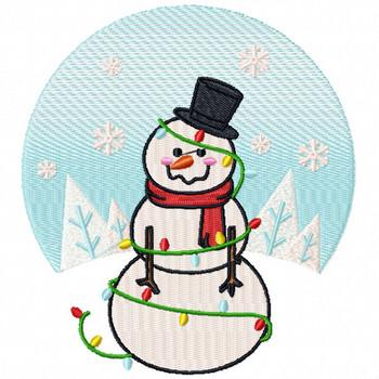 Christmas Light Snowman  - Funny Snowman #05 Machine Embroidery Design