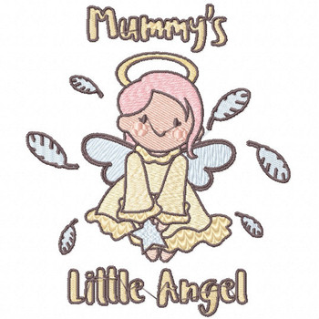 Mummy's Cute Little Angel - Little Angels Typography #03 Machine Embroidery Design